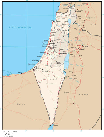 Israel Map with Administrative Areas, Capitals, Roads and Water Features