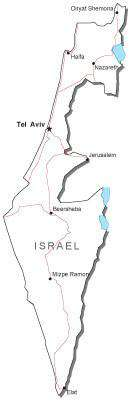 Israel Black & White Map with Capital, Major Cities, Roads, and Water Features