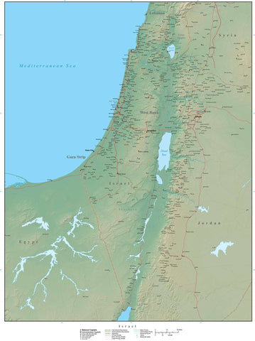 Digital Israel Terrain map in Adobe Illustrator vector format with Terrain ISR-XX-955507
