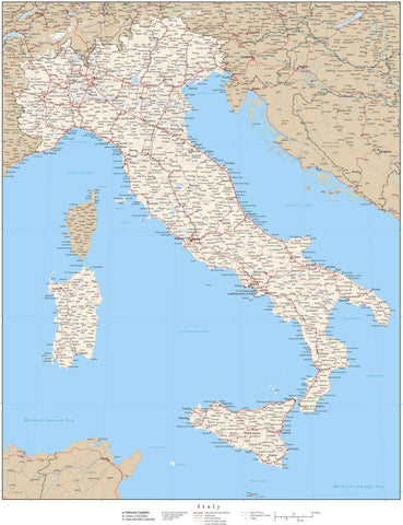 Italy Map - 22 x 17 Inches - High Detail