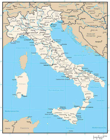 Italy Map with Regions and Regional Capitals