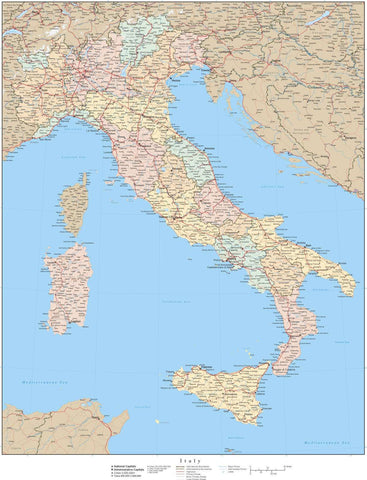 Italy Map - 22 x 17 Inches - High Detail with Regions