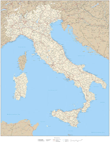 Italy Map - 31 x 24 Inches - Poster Size