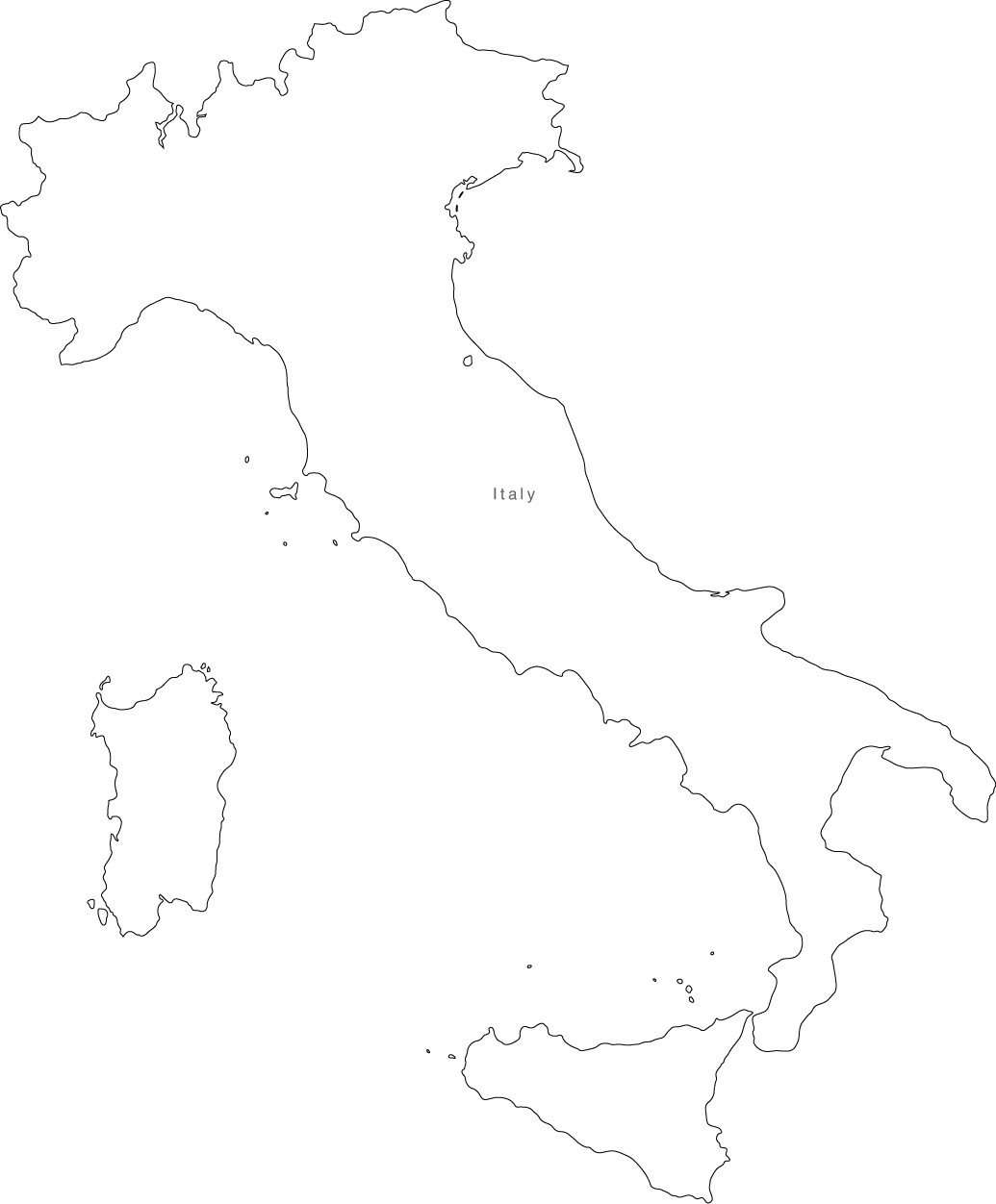Italy Map Black And White.Digital Italy Map For Adobe Illustrator And Powerpoint Keynote Map