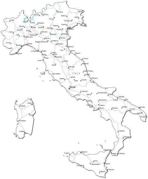 Black And White Map Of Italy.Italy Black White Map With Capital Major Cities Roads And Water Features