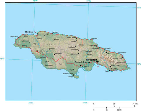 Jamaica Map plus Terrain