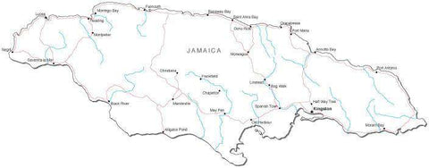Jamaica Black & White Map with Capital, Major Cities, Roads, and Water Features