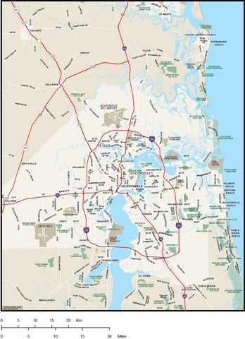 Jacksonville FL Map - Metro Area with Major Roads