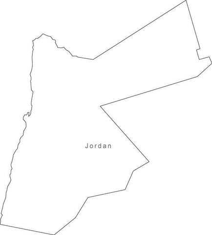 Digital Black & White Jordan map in Adobe Illustrator EPS vector format