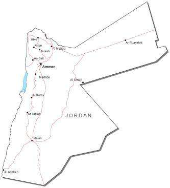 Jordan Black & White Map with Capital, Major Cities, Roads, and Water Features
