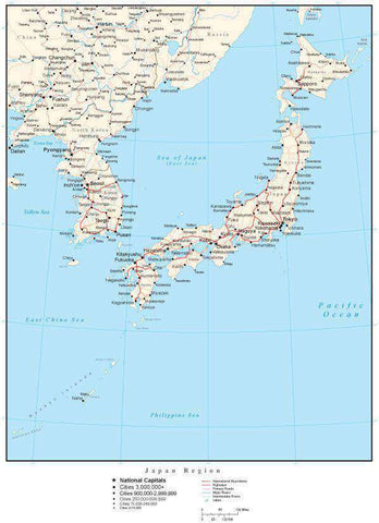 Japan Region Map with Country Boundaries, Capitals, Cities, Roads and Water Features