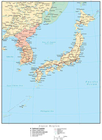 Japan Region Map with Countries, Capitals, Cities, Roads and Water Features