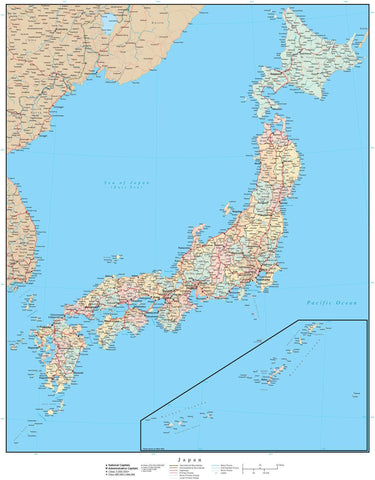 Japan Map - High Detail with Prefectures