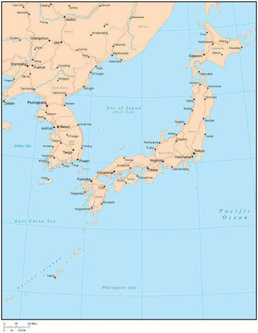 Single Color Japan Map with Countries, Capitals, Major Cities and Water Features