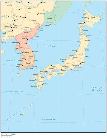 Multi Color Japan Map with Countries, Capitals, Major Cities and Water Features