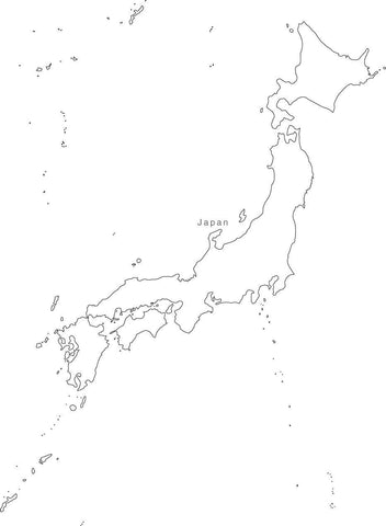 Digital Black & White Japan map in Adobe Illustrator EPS vector format