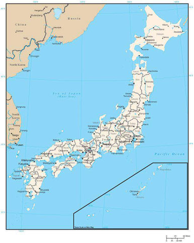 Japan Digital Vector Map with Prefecture Areas and Capitals