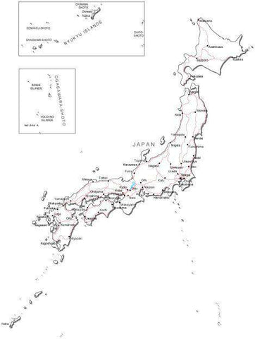 Japan Black & White Map with Capital, Major Cities, Roads, and Water Features
