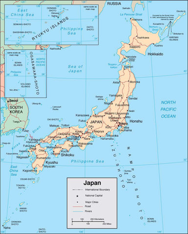 Digital Japan map in Adobe Illustrator vector format