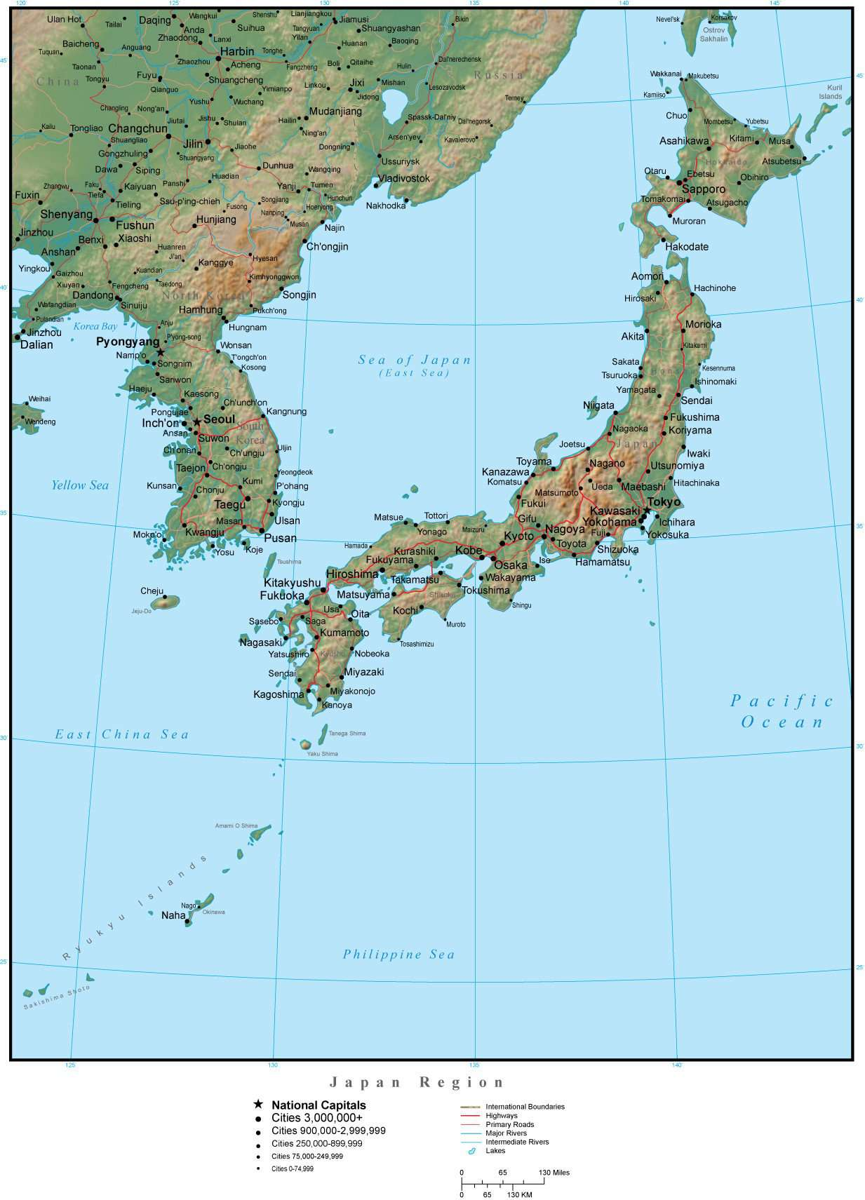 Japan Region Terrain Map In Adobe Illustrator Vector Format With