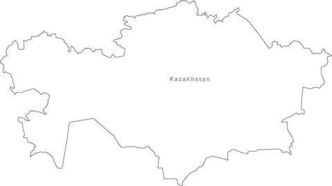 Digital Black & White Kasakhstan map in Adobe Illustrator EPS vector format