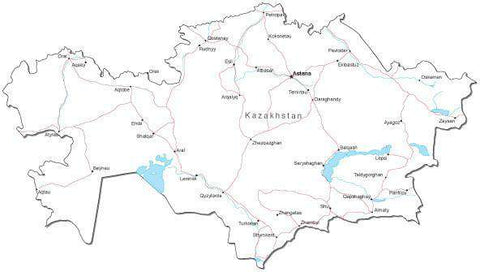 Kazakhstan Black & White Map with Capital, Major Cities, Roads, and Water Features