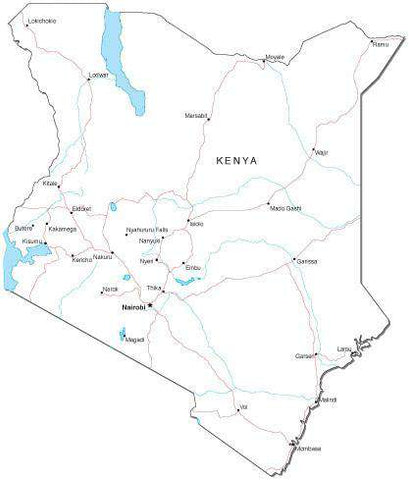 Kenya Black & White Map with Capital, Major Cities, Roads, and Water Features