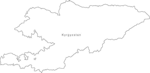 Digital Black & White Kyrgystan map in Adobe Illustrator EPS vector format