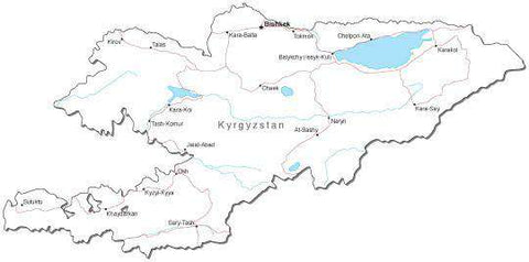 Kyrgystan Black & White Map with Capital, Major Cities, Roads, and Water Features