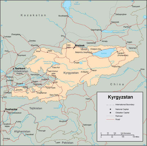 Digital Kyrgyzstan map in Adobe Illustrator vector format
