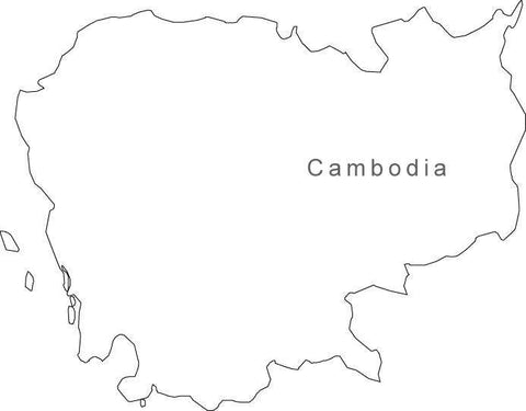 Digital Black & White Cambodia map in Adobe Illustrator EPS vector format