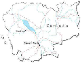 Cambodia Black & White Map with Capital Major Cities and Roads