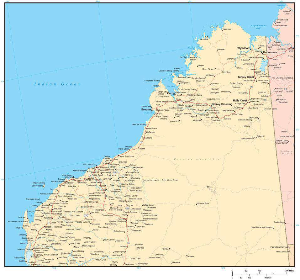 Map Of Australia Roads.The Kimberley Region Western Australia Map With Cities Major Roads And Water Features