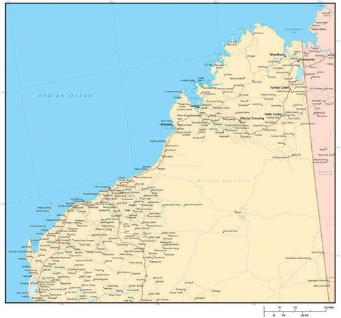 The Kimberley Region Western Australia Map with Cities Major Roads and Water Features