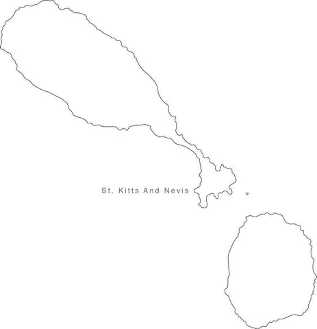 Digital Black & White St Kitts & Nevis map in Adobe Illustrator EPS vector format