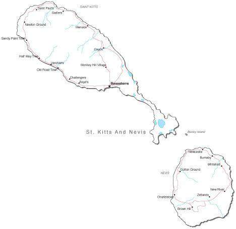 St Kitts and Nevis Black & White Map with Capital, Major Cities, Roads, and Water Features
