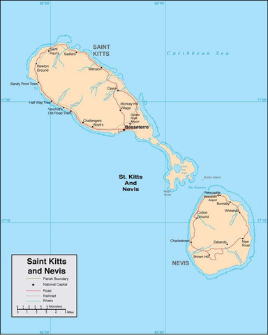 Digital Saint Kitts Nevis map in Adobe Illustrator vector format