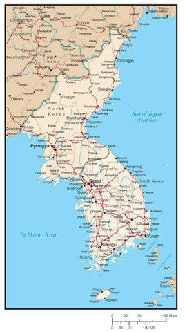 North and South Korea Map with Major Cities and Roads