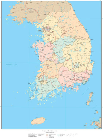 South Korea Map - High Detail with Internal Subdivisions