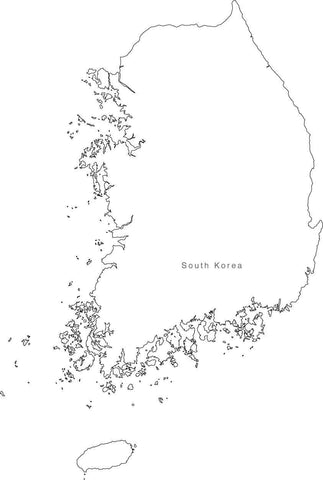 Digital Black & White South Korea map in Adobe Illustrator EPS vector format