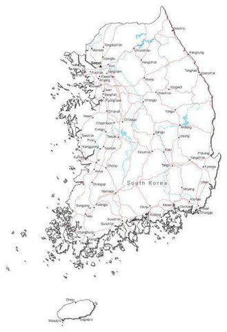 South Korea Black & White Map with Capital, Major Cities, Roads, and Water Features