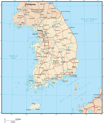 Digital South Korea map in Adobe Illustrator vector format
