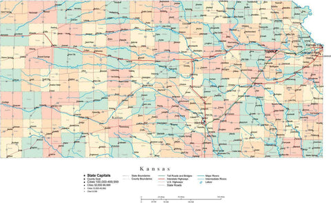 Kansas State Map - Multi-Color Cut-Out Style - with Counties, Cities, County Seats, Major Roads, Rivers and Lakes
