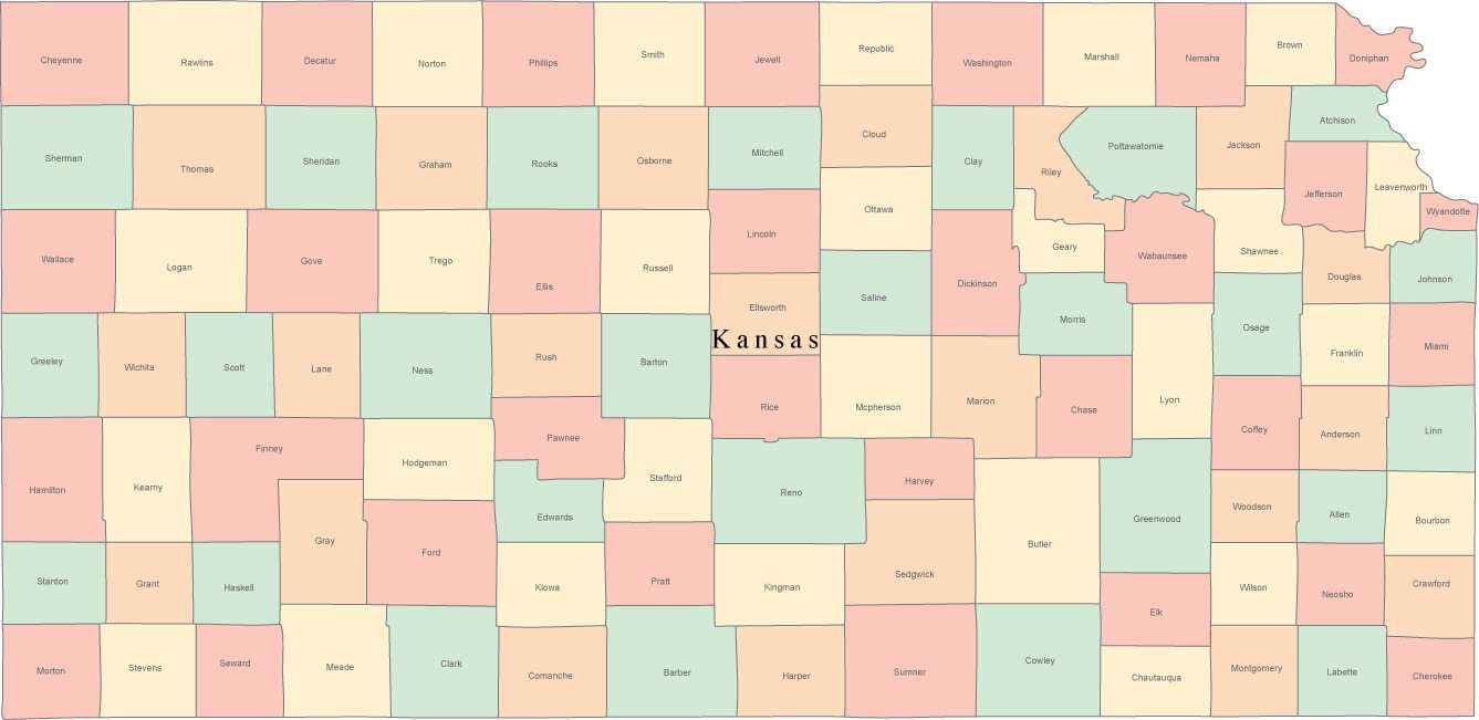 Digital KS Map with Counties & County Names - Multi-Color on ks district map, parsons ks map, ks city map, johnson ks map, butler ks map, lansing ks map, ks us map, ks co map, nickerson ks map, wilson lake ks map, ks turnpike map, pratt ks map, counties in ok map, ks highway map, wamego ks map, ks area code map, ks state map, ks cities map, western ks map, kansas map,