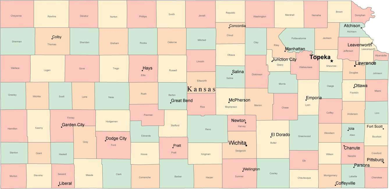 Multi Color Kansas Map with Counties, Capitals, and Major Cities on ohio map, missouri map, mississippi map, iowa map, indiana map, maryland map, arkansas map, nebraska map, southern utah map, new jersey map, texas map, maine map, oklahoma map, tennessee map, california map, wisconsin map, kentucky map, florida map, louisiana map, neosho county map, topeka map, buffalo map, nevada map, wichita map, michigan map, minnesota map, hawaii map, arizona map, colorado map, dallas map, montana map, illinois map, new york map,