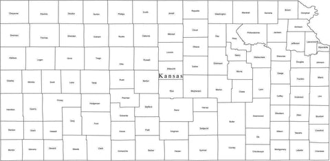 Black & White Kansas Map with Counties