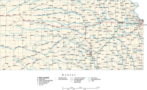 Kansas Map - Cut Out Style - with Capital, County Boundaries, Cities, Roads, and Water Features