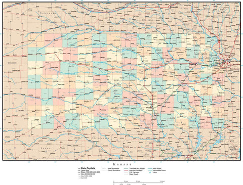 Kansas Map with Counties, Cities, County Seats, Major Roads, Rivers and Lakes
