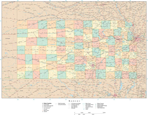 Detailed Kansas Digital Map with Counties, Cities, Highways, Railroads, Airports, and more