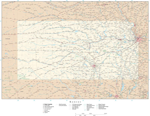 Poster Size Kansas Map with County Boundaries, Cities, Highways, National Parks, and more